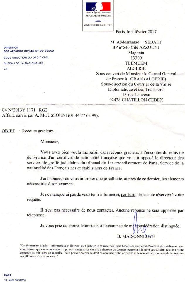 Recours gracieux suite refus cnf bureau 1 2 3 4 5 quot - Bureau de nationalite francaise ...