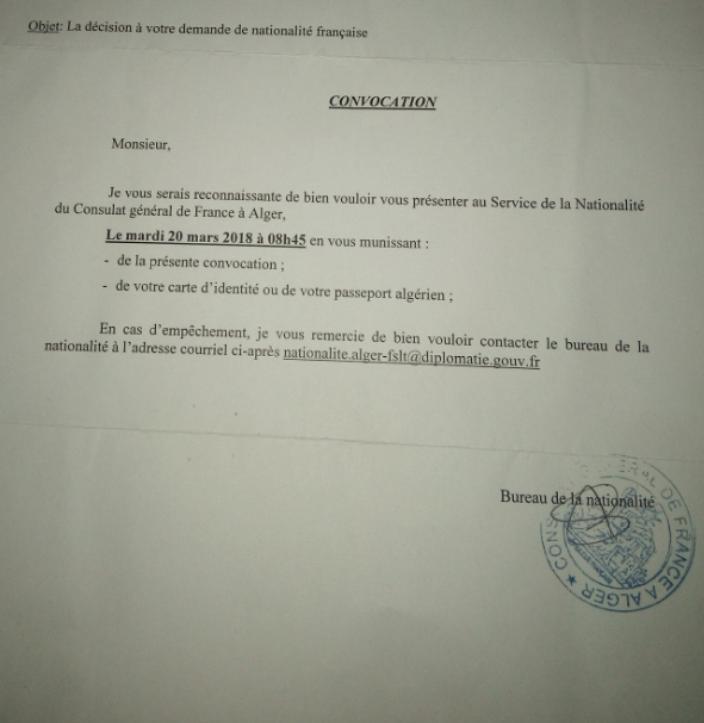 Une Convocation Consulat France Alger Pour Retirer Mon Coment Sav