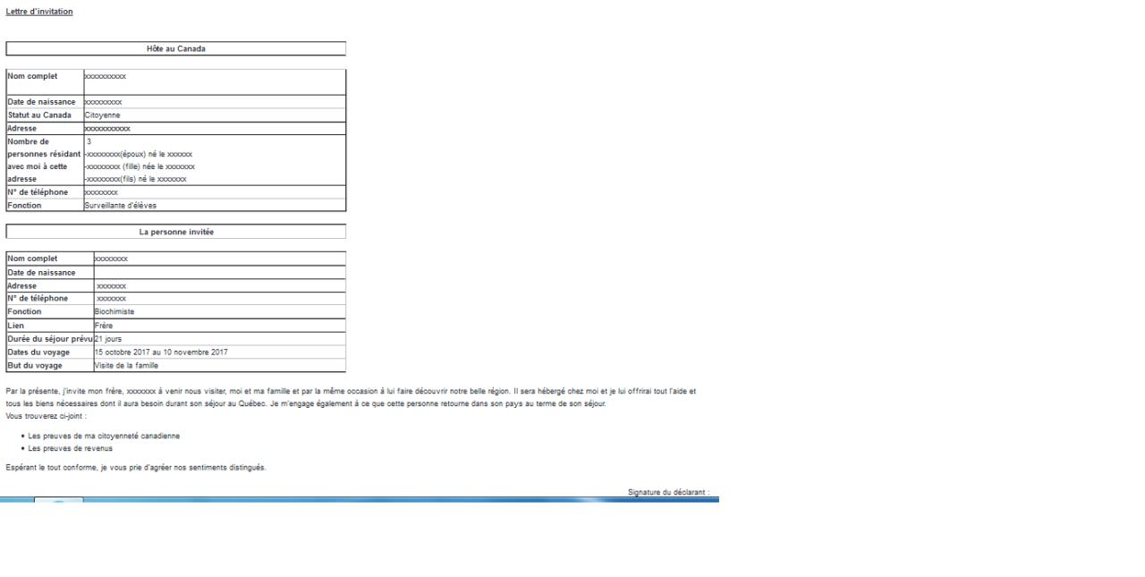 exemple de lettre d invitation pour visa visiteur au canada viewinvite co. Black Bedroom Furniture Sets. Home Design Ideas